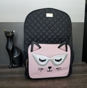 Betsey Johnson Large Black Pink Cat Backpack